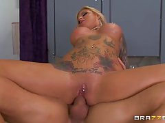 Tattooed blonde whore, Britney Shannon got doublefucked in her apartment, instead of going to work