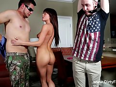Dark haired babe does not mind having threesomes with two guys, as long as she gets satisfied
