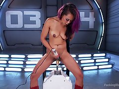 Insatiable Asian babe is often testing fucking machines because it is part of her job