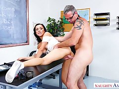 Slim brunette, Jade Amber got down and dirty with her professor, in an empty classroom