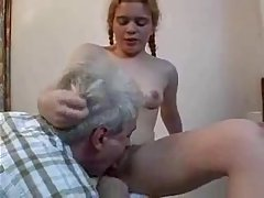 Pigtailed babe knows how to make an older, married guy fuck her tight ass hole