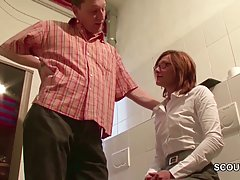 Shy milf sucked her boss's dick in the toilet, and then she got fucked hard