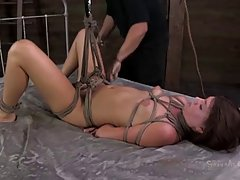 Kinky brunette got tied up because that excites her a lot, every single time
