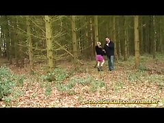Naive blonde went to the forest with a guy she liked and had sex with him