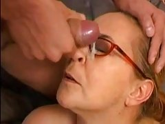 Mature blonde woman with glasses is always available for guys who want to fuck her