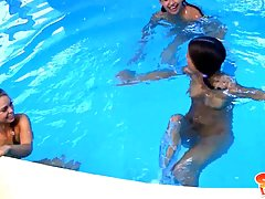 After playing in the pool, three super girls are rubbing their shaved pussies, like crazy