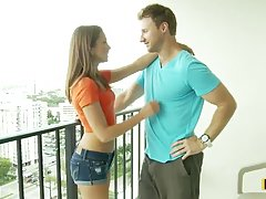 Riley Reid did her best to suck her lover's dick as deep as she could
