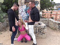 Sexy blonde babe in pink workout outfit is about to have sex in a public place