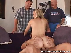 Hot blonde wife with a huge ass is riding a rock hard dick on the sofa