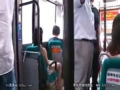 Dark haired babe had an interesting time while traveling home by bus, and enjoyed it a lot