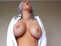 Tattooed blonde was excited to take off her shirt and show her nice milk jugs