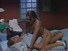 Hot and very horny nurse is sucking her patient's dick, expecting to get fucked very hard
