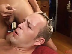 Horny guy went to a hotel room with three trannies and got gangbanged all night long