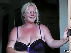 Handsome guy got very horny and accepted an offer from a chubby housewife, to fuck her brains out