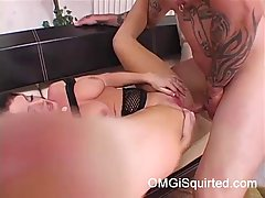 Slutty woman with pierced tongue, Sophie Dee is giving a blowjob to her tattooed lover