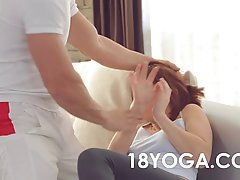 Slim girl is doing yoga hoping that her personal trainer will fuck her after that