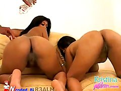 Ebony babes, Kristina Milan and Vanessa Del are not only showing their tits to the camera