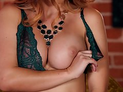 Karlie Montana is slowly taking off her lacy lingerie and gently rubbing her soaking wet pussy