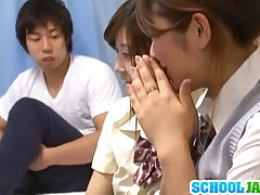 Asian schoolgirls were about to start studying when their friend showed up, to fuck both of them