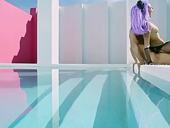 Asian girl with purple hair, Alina Li likes to get fucked from behind, near the swimming pool