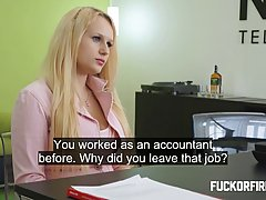 Blonde slut did her best to keep the job, although she was supposed to be fired