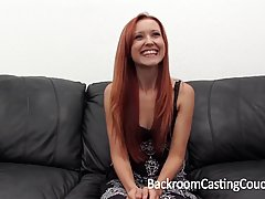 Red haired chick went to a job interview and ended up having rough anal sex