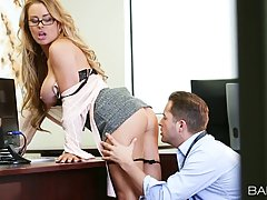 Sexy secretary, Corrine Blake is often doing it with her boss, in his huge office