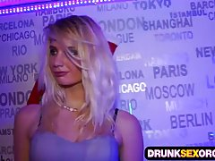 Hot blonde got drunk and decided to have sex with many guys, at the party