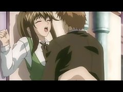 Horny anime chick is getting nailed from behind by a guy she just met in the bar