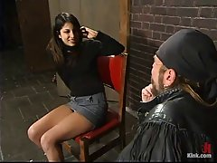 Hot woman is sucking a huge dick in the prison and getting ready to get fucked