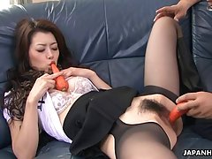 Asian girl took off her panties, spread her legs and expected to get completely satisfied