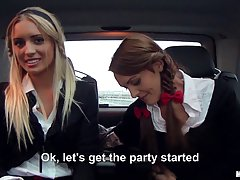Slutty schoolgirls were picked up by a stranger and had fun in his huge car