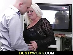 Bald guy is fucking his best friend's fat wife, because he has a kink on her