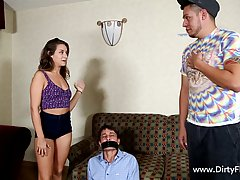 Sinful brunette teen is ready to take revenge, she gets nailed in front of her tied up boyfriend