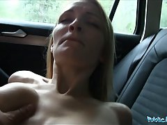 Sweet amateur bitch Belle Claire gets used by a freaky porn agent in the car, what a bimbo
