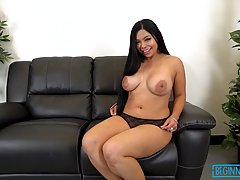 Curvy brunette bitch with big boobies Daisy Gomez sucks a dong and gets rammed so well
