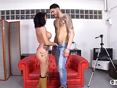 Tattooed brunette milf with big tits is playing with herself and fucking her horny lover