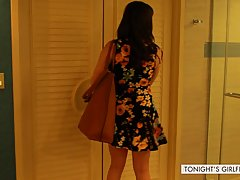 Dana is wearing a floral dress while getting ready to fuck her husband's good friend