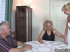 Mature blonde lady and her naughty neighbors are often gathering up and fucking like crazy