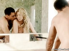 Blonde bitch got her partner's big dick in the ass, in front of the mirror