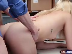 Blonde is getting fucked hard from the back, because she was caught shoplifting in a local store