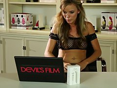 Pristine Edge is wearing fishnet stockings while masturbating at home, in front of the camera