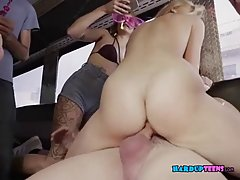 Blonde babe is sucking and riding dick in a car, while her friends are partying