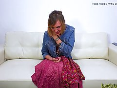 Powerful milf, Mystick Moons is giving a great blowjob to her porn agent, during a casting