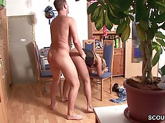 Horny man is fucking a married woman from the back, while her husband is at work