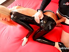 Amazing blonde porn model in black latex will blow your mind, she needs hard fucking