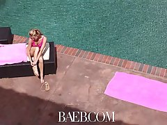 Bitchy blonde chick, Arya Fae likes to suck her horny boyfriend's huge cock, by the pool