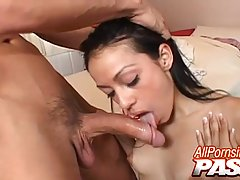 Dark haired babe, Rachel Milan likes to feel a hard dick in her mouth before having sex