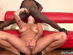 Bad milf, Nikita Denise is taking a huge, black cock, while an old man is watching