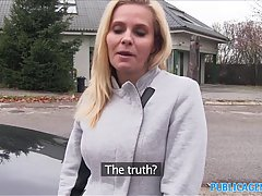 Blonde milf is being fucked in the pussy, by her horny porn agent, in his car
